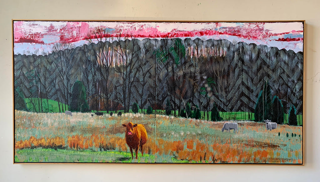 Cows in Hayfield Diptych II - 35x71in