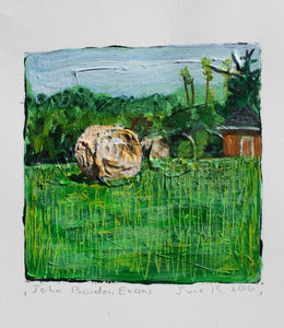 Two Haybales and Outbuilding - 5x5in