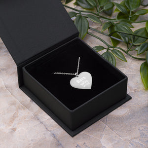 Bar Queen Engraved Silver Heart Necklace