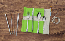 Load image into Gallery viewer, Mindful Nature Stainless Steel 8-piece Reusable Utensil Set in Carrying Pouch with Clip