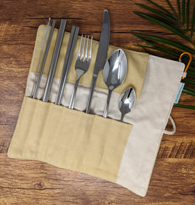 Mindful Nature Stainless Steel 8-piece Reusable Utensil Set in Carrying Pouch with Clip