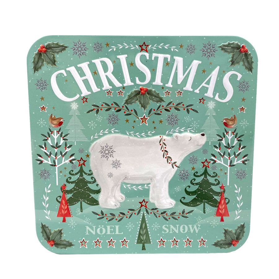 Polar Bear Christmas Biscuit Tin