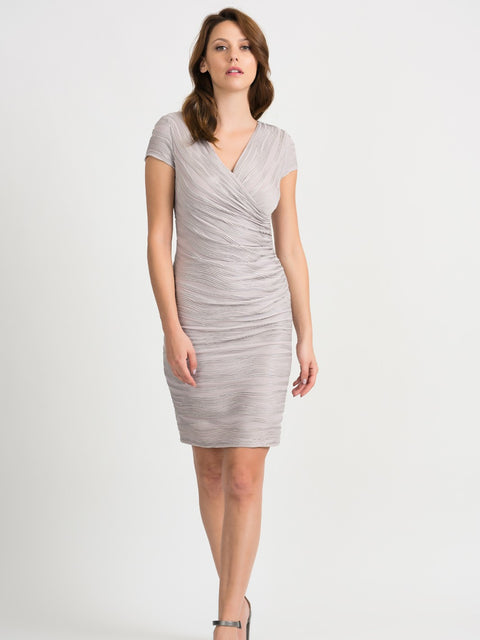 Silver Ribbed X Over Dress