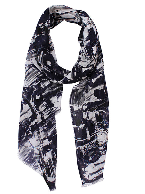 Electra Navy Squiggle Scarf