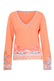V Neck Peach Jumper With Border Print