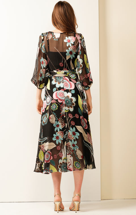 Sarah Burnout Floral Wrap Dress