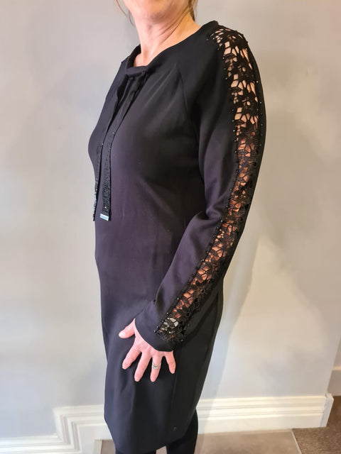 Black Dress With Lace Sleeve Insert