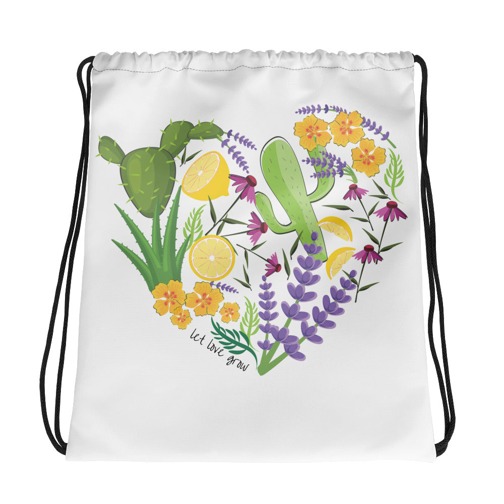 Let Love Grow Drawstring Bag