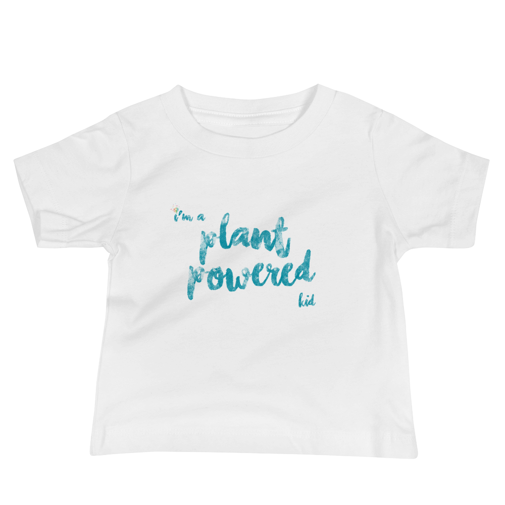 """I'm a Plant Powered Kid"" Baby Jersey Short Sleeve Tee"