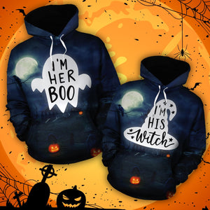Her Boo - His Witch - Couple Hoodie
