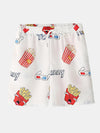 Men Funny Print Hamburger Loungewear Sets Two Pieces Lapel Collar Short Sleeve Thin Summer Pajamas