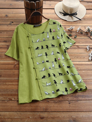 Cartoon Cat Print Frog Button Short Sleeve T-shirt For Women