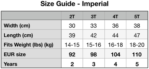 Size Guide -Toddler Premium Tee | Bella + Canvas 3001T (Imperial)