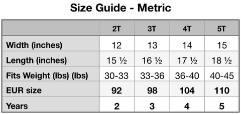 Size Guide -Toddler Premium Tee | Bella + Canvas 3001T (Metric)