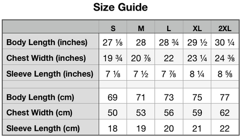 Size Guide -Unisex Organic Cotton T-Shirt