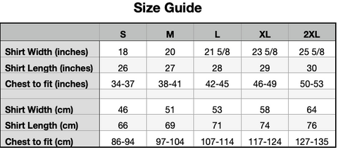 Size Guide : Muscle Shirt