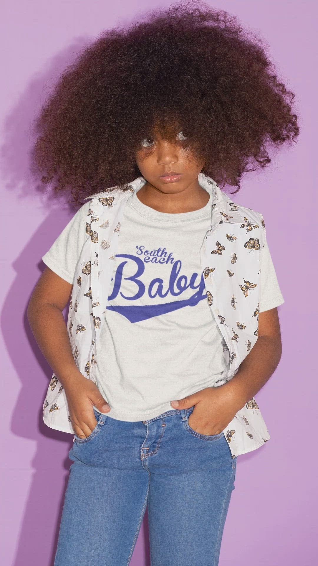 SOUTH BEACH BABY-- Youth Short-Sleeved T-Shirt, Royal Blue Print