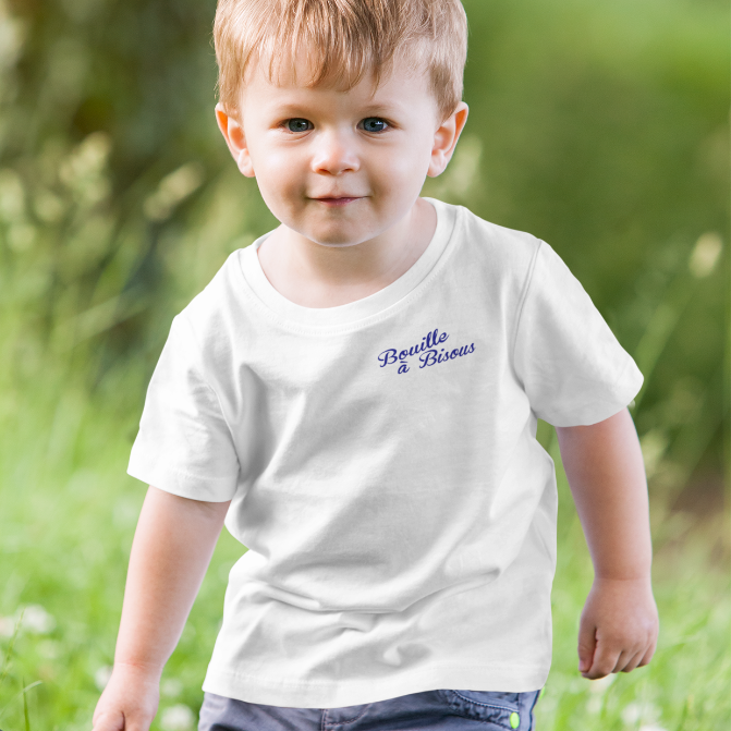BOUILLE À BISOUS-- Short-Sleeved, Toddler T-Shirt, Royal Blue Print