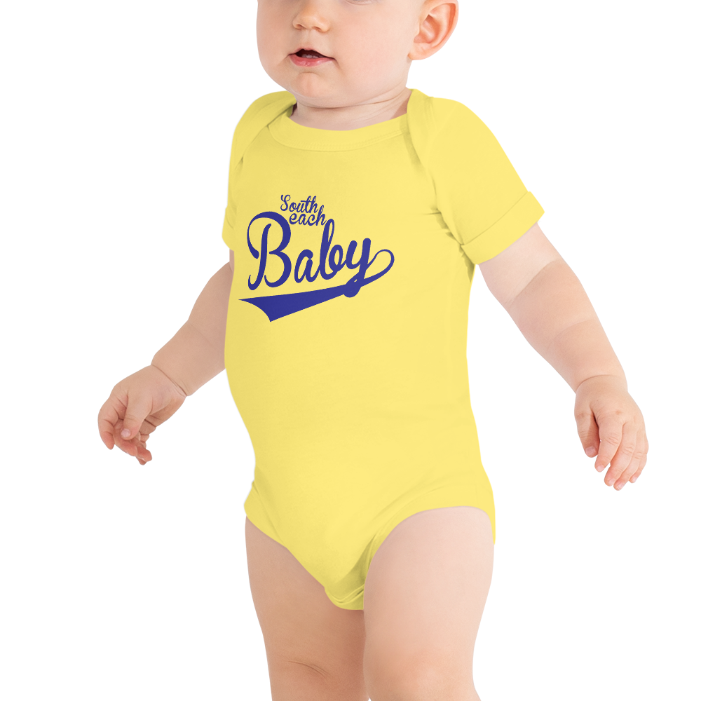 SOUTH BEACH BABY-- Baby Onesie, Royal Blue Print