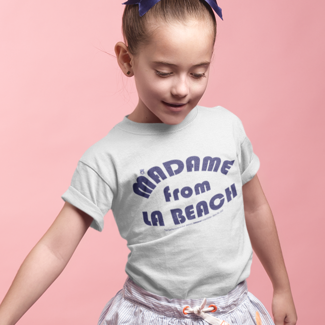MADAME FROM LA BEACH-- Youth Short-Sleeved T-Shirt, Royal Blue Print