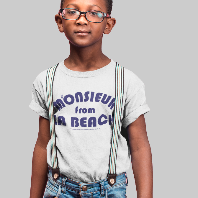 MONSIEUR FROM LA BEACH-- Youth Short-Sleeved T-Shirt, Royal Blue Print