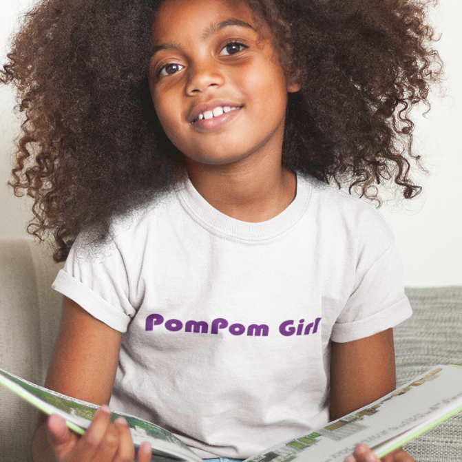 POMPOM GIRL-- Youth Short Sleeve T-Shirt, Violet Print
