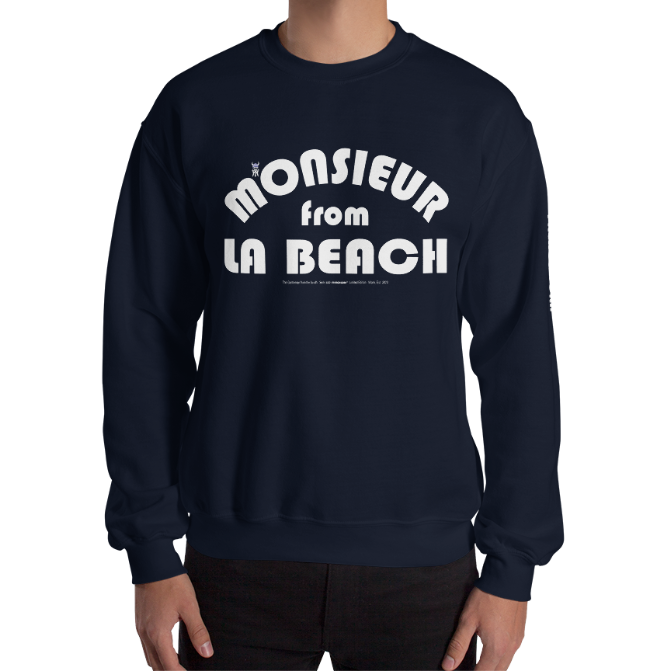 MONSIEUR FROM LA BEACH-- Men's Sweatshirt, White Print
