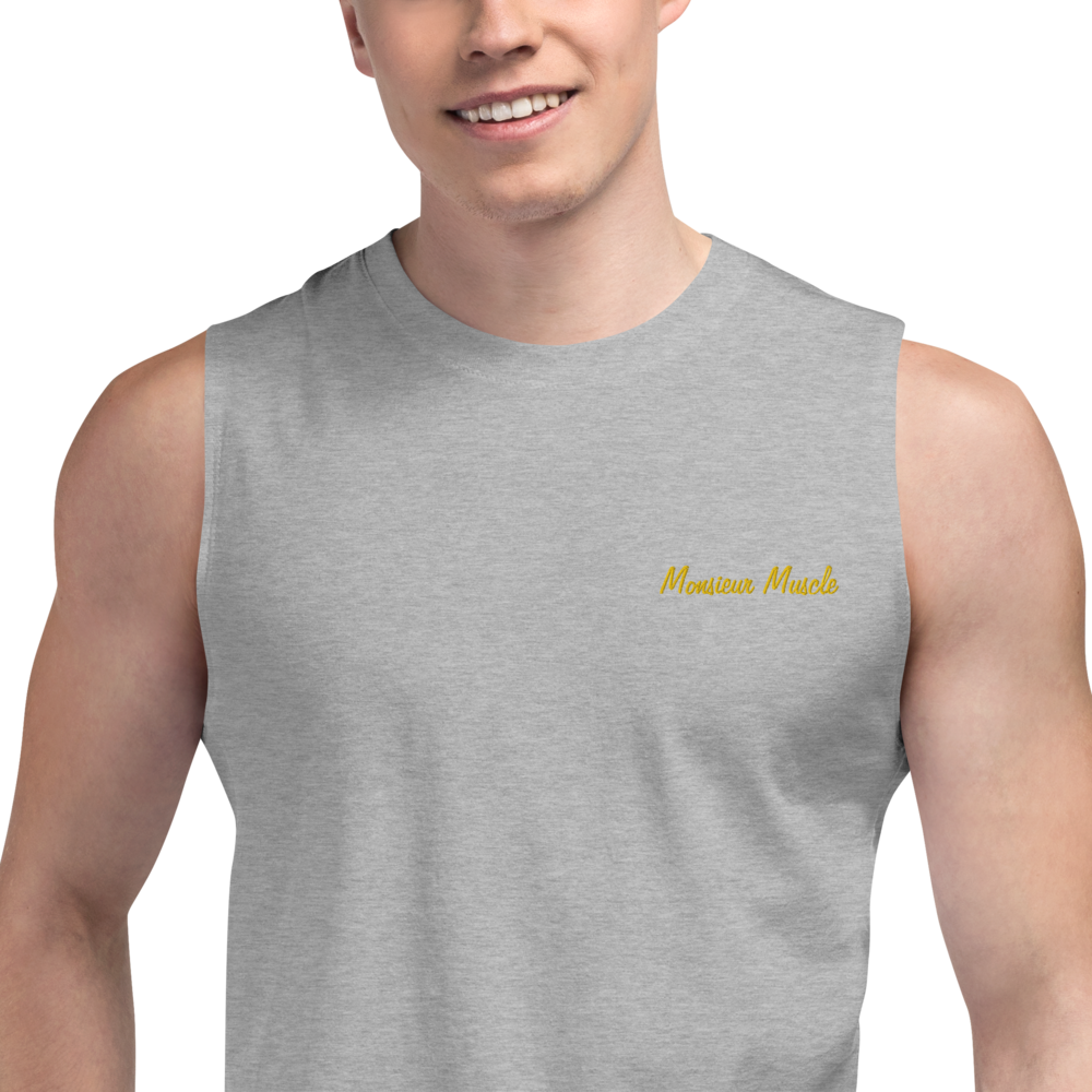 MONSIEUR MUSCLE-- Men's Muscle Shirt, Gold Embroidery