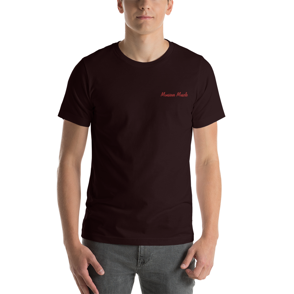 MONSIEUR MUSCLE-- Men's T-Shirt, Red Embroidery