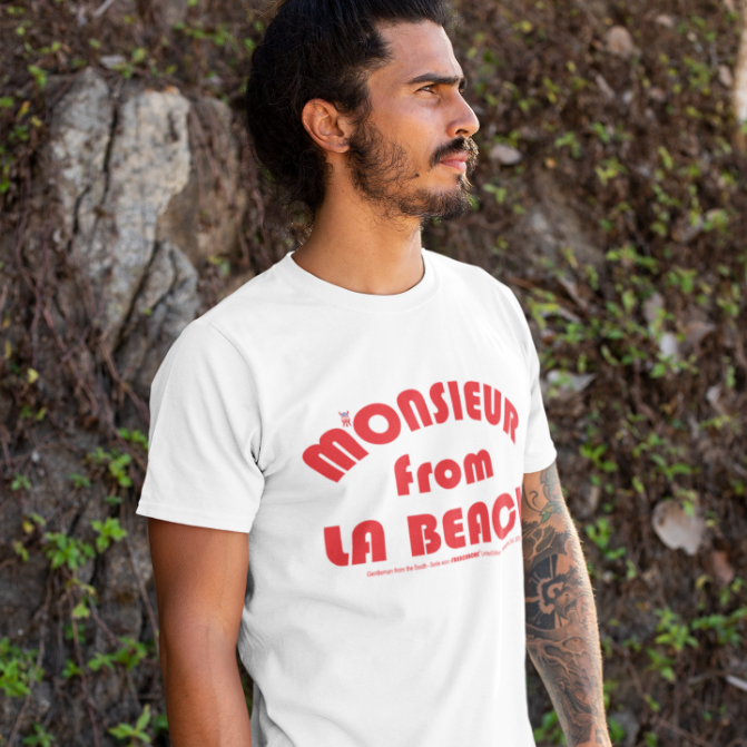 ORGANIC --MONSIEUR FROM LA BEACH-- Men's Cotton T-Shirt, Red Print