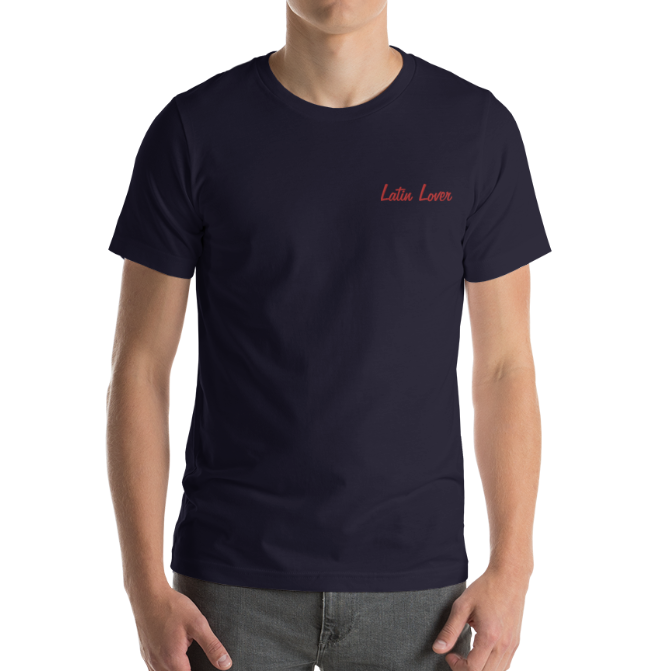 LATIN LOVER-- Men's T-Shirt, Red Embroidery
