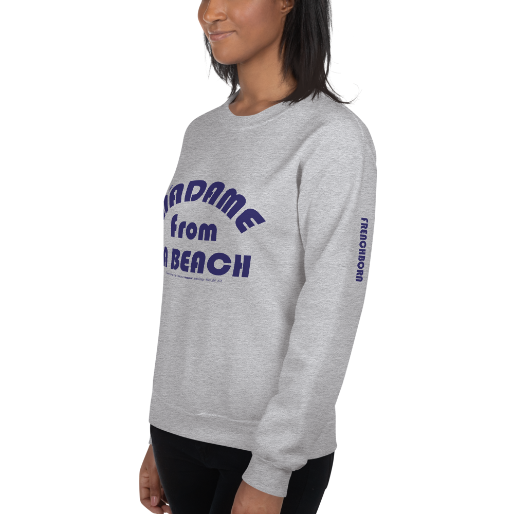 MADAME FROM LA BEACH-- Women's Sweatshirt, Blue Print