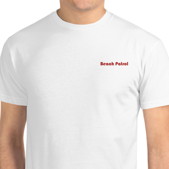 SUSTAINABLE --BEACH PATROL-- Cotton Blend Men's T-Shirt, Red Embroidery