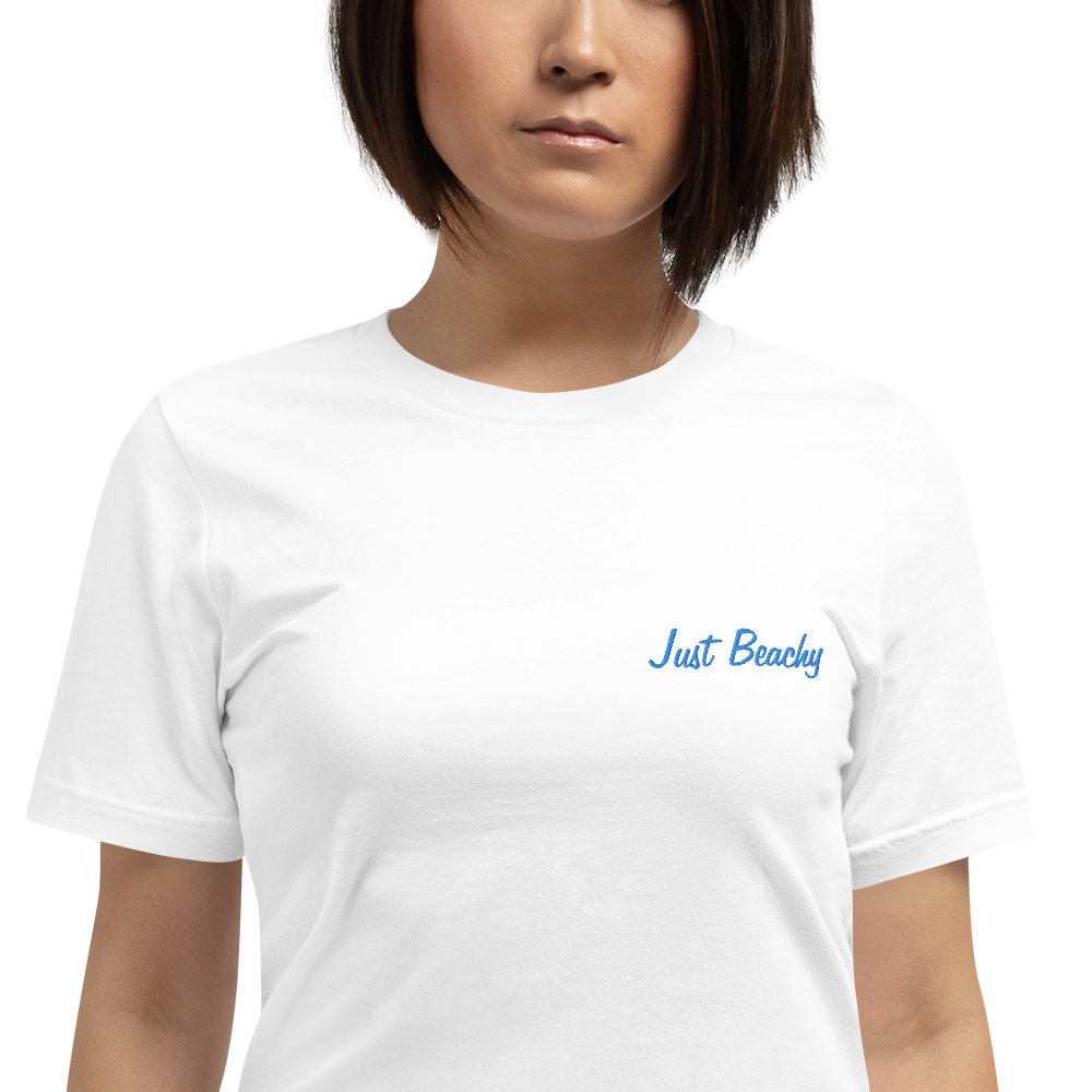 JUST BEACHY-- Women's T-Shirt, Royal Blue Embroidery