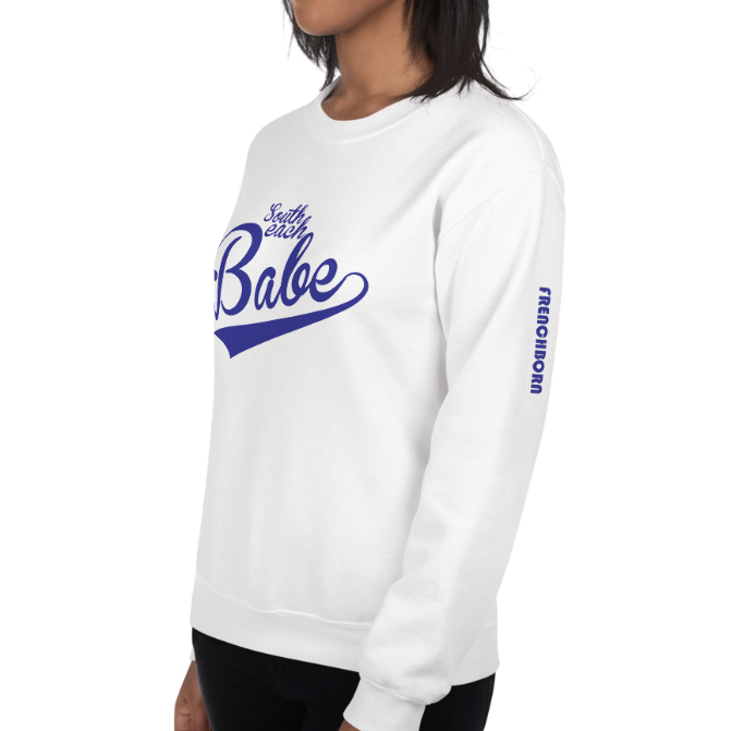 SOUTH BEACH BABE-- Women's Sweatshirt, Royal Blue Print
