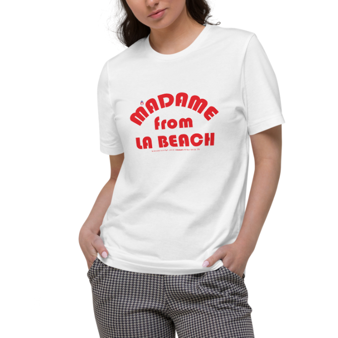 ORGANIC --MADAME FROM LA BEACH-- Women's Cotton T-Shirt, Red Print