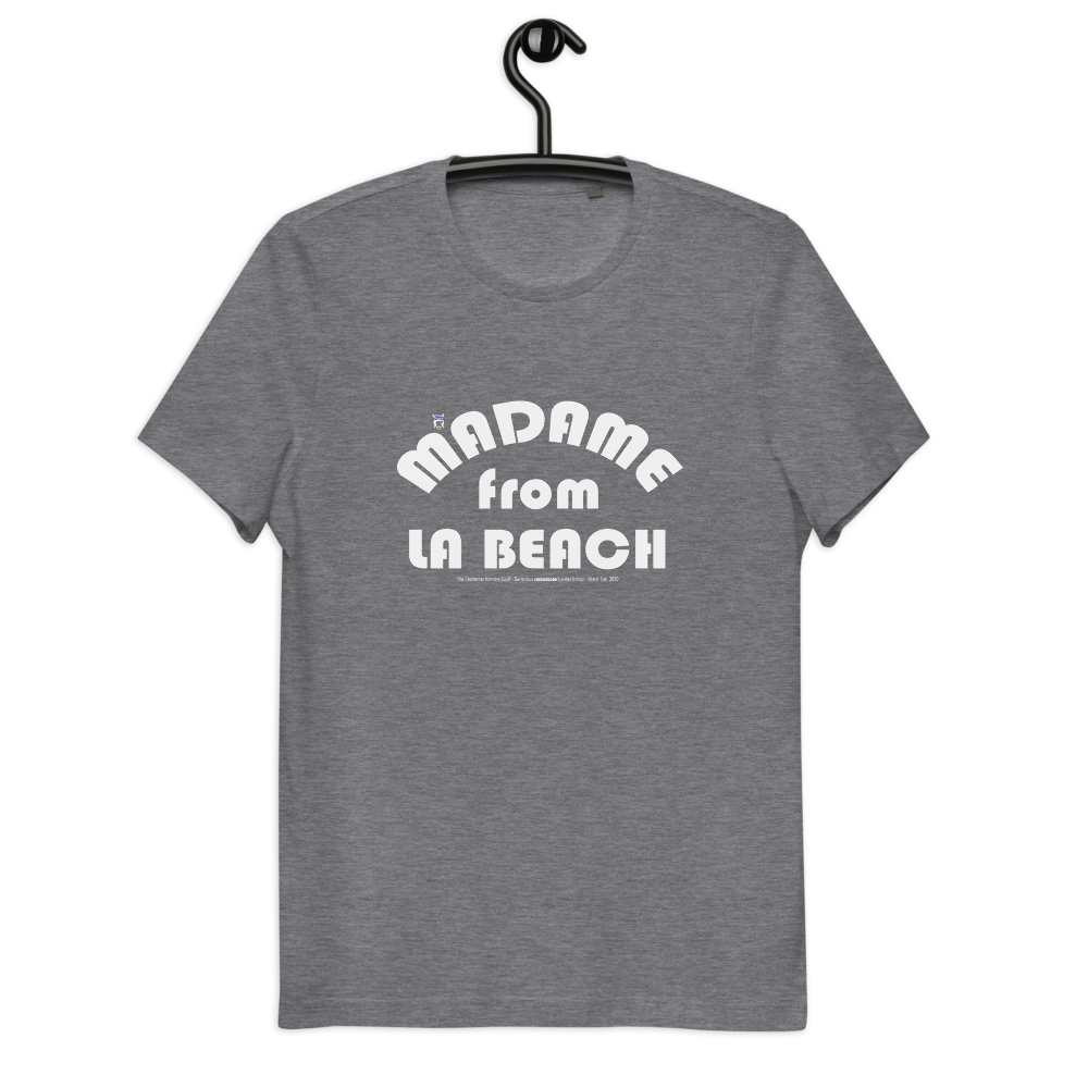ORGANIC --MADAME FROM LA BEACH-- Women's Cotton T-Shirt, White Print