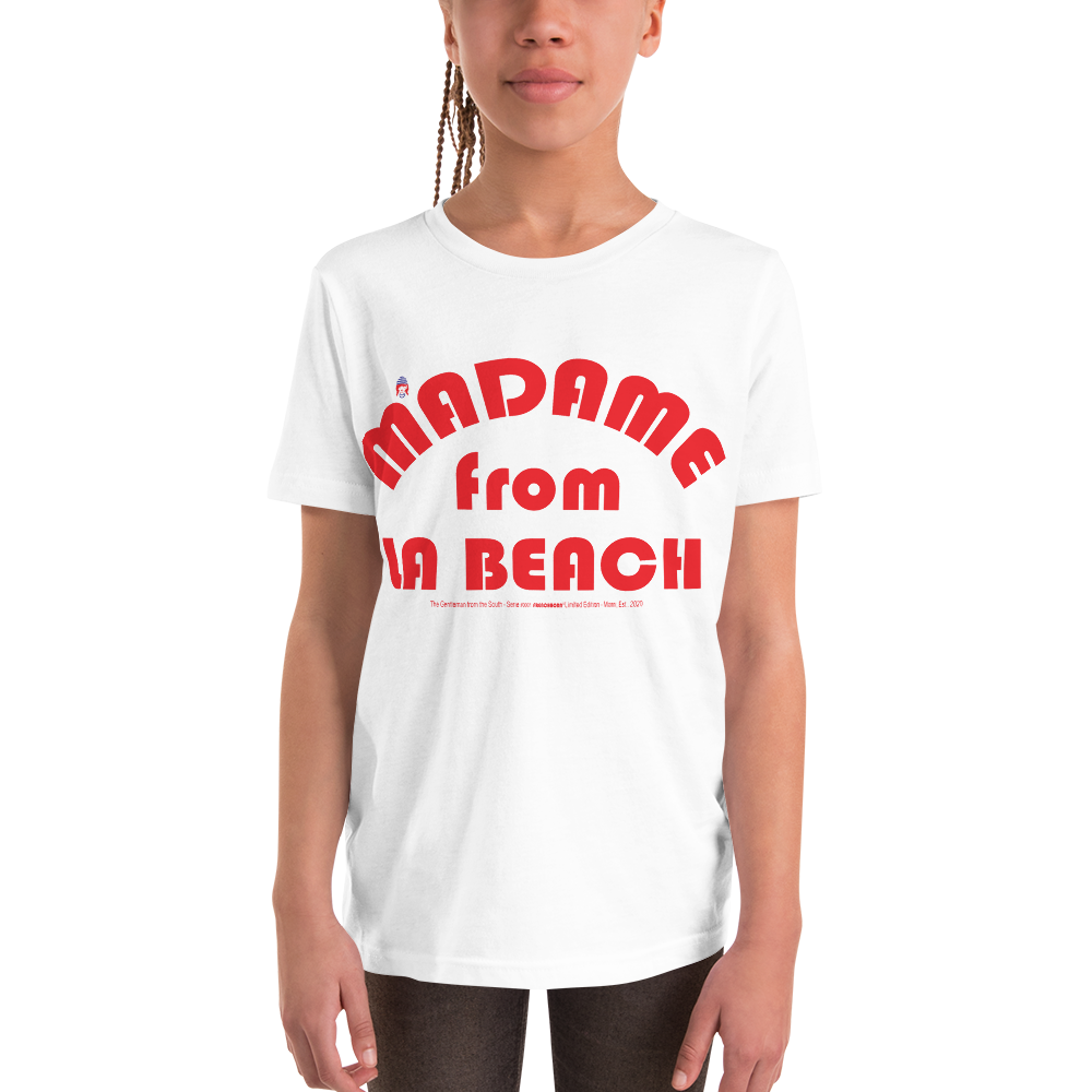 MADAME FROM LA BEACH-- Youth Short-Sleeved T-Shirt, Red Print