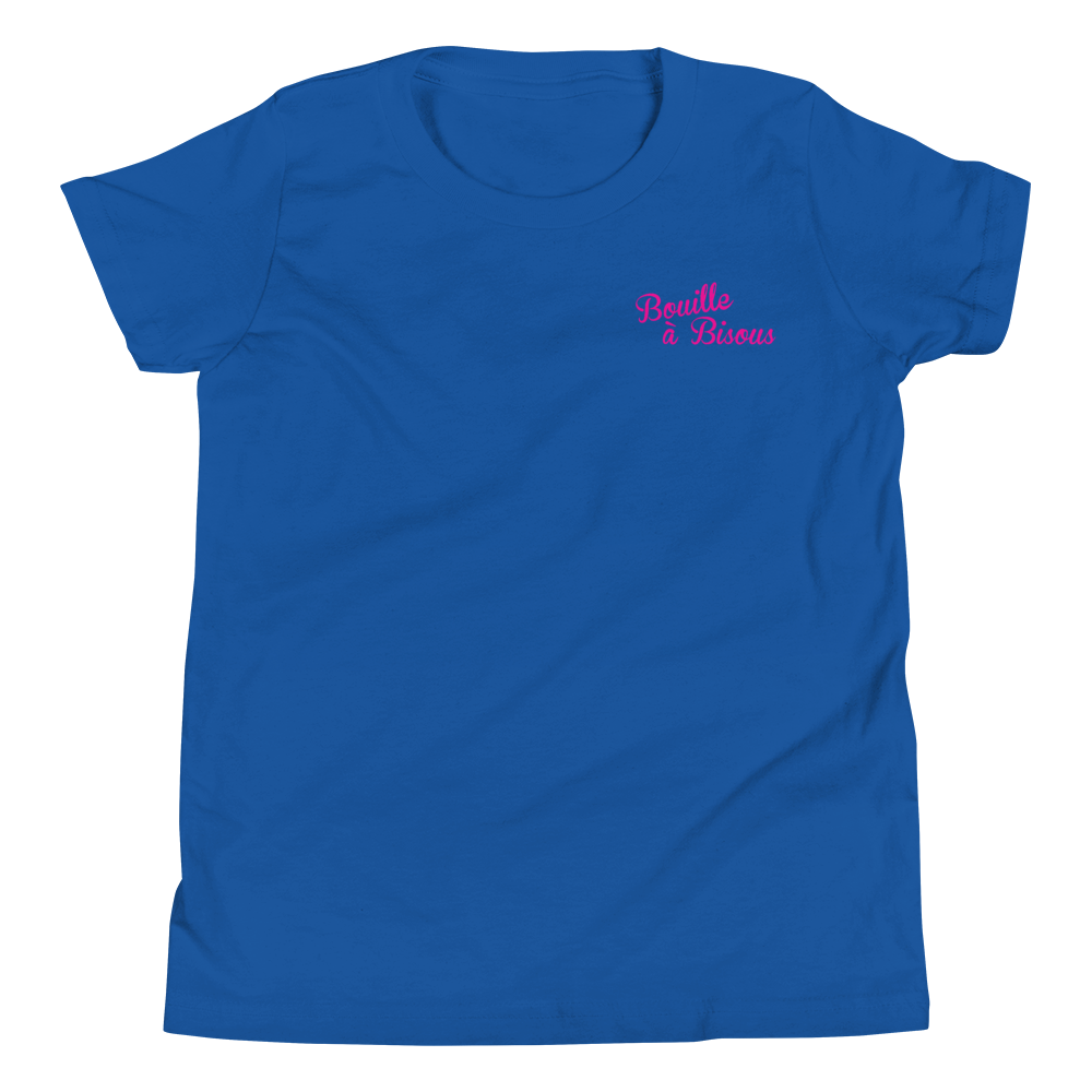 BOUILLE À BISOUS-- Short-Sleeved, Youth T-Shirt, Fuxia Print