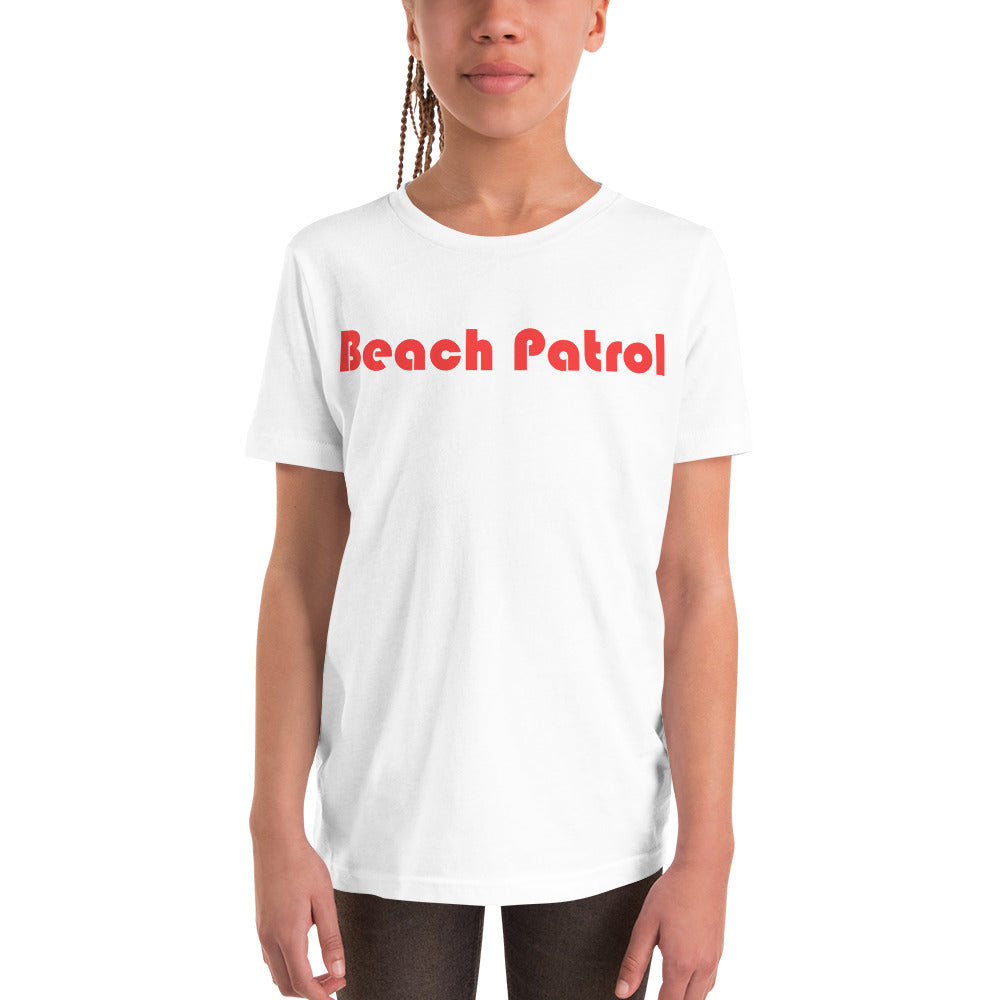 BEACH PATROL-- Youth Short Sleeve T-Shirt, Red Print