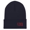 COOL-- Unisex Cuffed Beanie, Red Embroidery