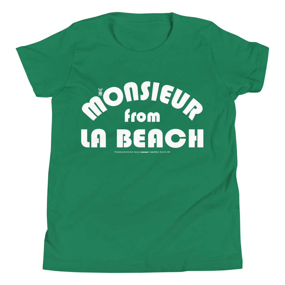 MONSIEUR FROM LA BEACH-- Youth Short-Sleeved T-Shirt, White Print