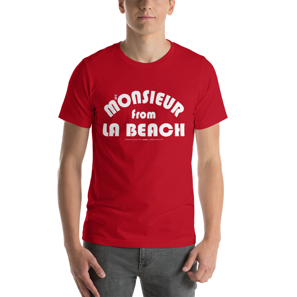 MONSIEUR FROM LA BEACH-- Men's T-Shirt, White Print