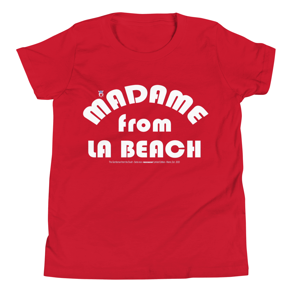 MADAME FROM LA BEACH-- Youth Short-Sleeved T-Shirt, White Print