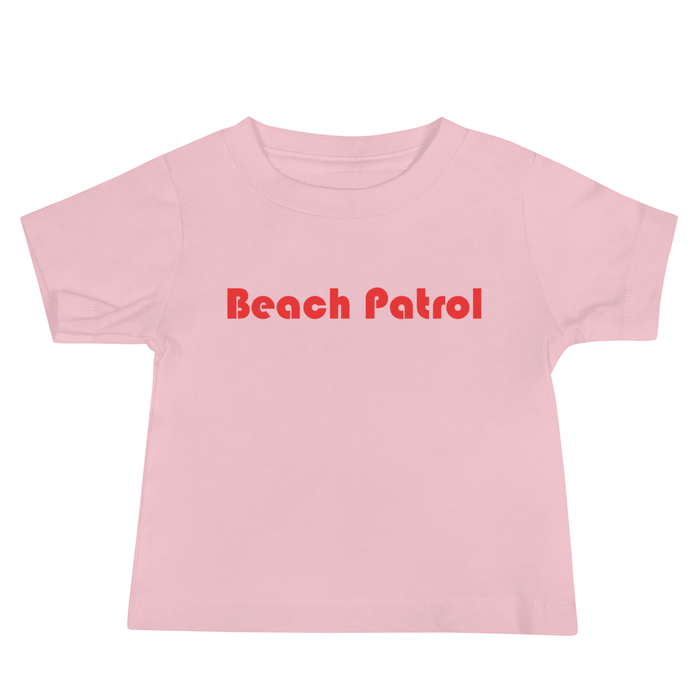 BEACH PATROL-- Short-Sleeved, Baby Jersey T-Shirt, Red Print