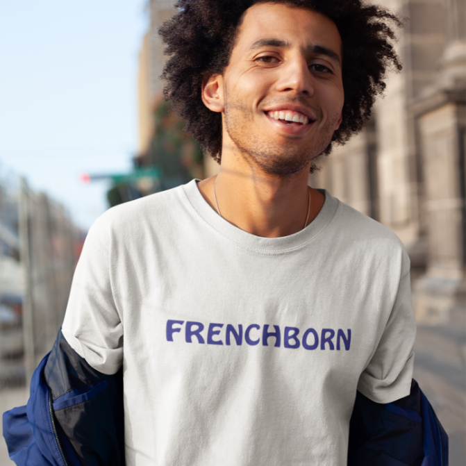 FRENCHBORN-- Men's T-Shirt, Royal Blue Print