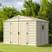 WoodBridge 324.8 x 247 x 233.2 cm Resin Garden Storage Shed 10.5x8ft Ivory with Shelving Rack 4