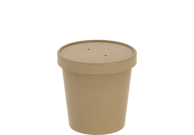 Brown Kraft Soup Container 16 Oz with Lid - 20 Pcs.