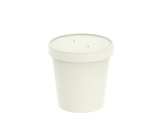 White Kraft Soup Container 16 Oz with Lid - 20 Pcs.