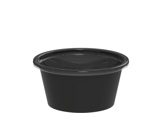 Plastic Sauce Cups Black with Clear Lid 2 oz. - 100 Pcs.